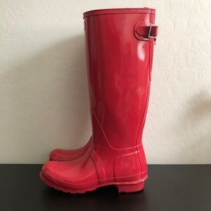 Hunter Pink Glossy Tall Rainboot